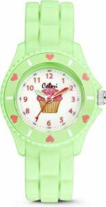 Colori Kidz 5 CLK061 Kinderhorloge met Cupcake - Siliconen Band - Ø 30 mm - Licht Groen