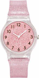 Glitter horloge - zacht roze - kinderen - tieners - 33 mm - I-deLuxe verpakking