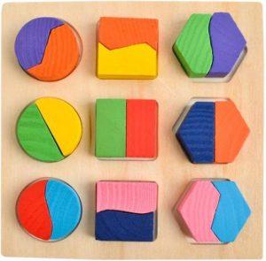 Houten geometrische vormen Montessori Puzzel