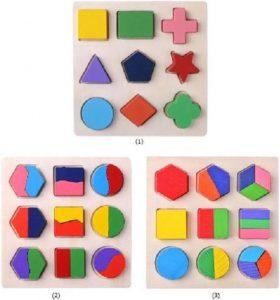 Houten geometrische vormen Montessori Puzzel Sorteren