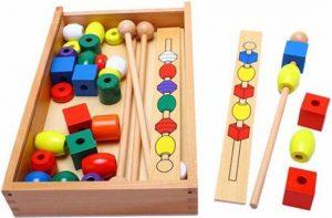 Houten kralen stok - Montessori speelgoed - Vormen en kleuren