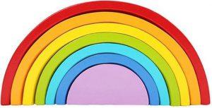 Houten regenboog - klein - 7-delig - Montessori speelgoed - Houten speelgoed