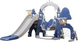 Russle- Speeltoestel XL blauw met schommel en glijbaan