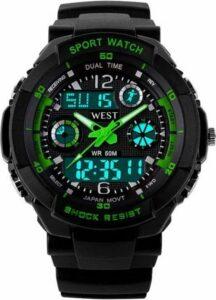 West Watch – multifunctioneel kinder sport horloge - model Storm – Chronograaf – Shockproof - Digitaal-Analoog - Groen
