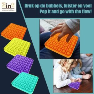 Zint Pop it fidget toy - Vierkant geel